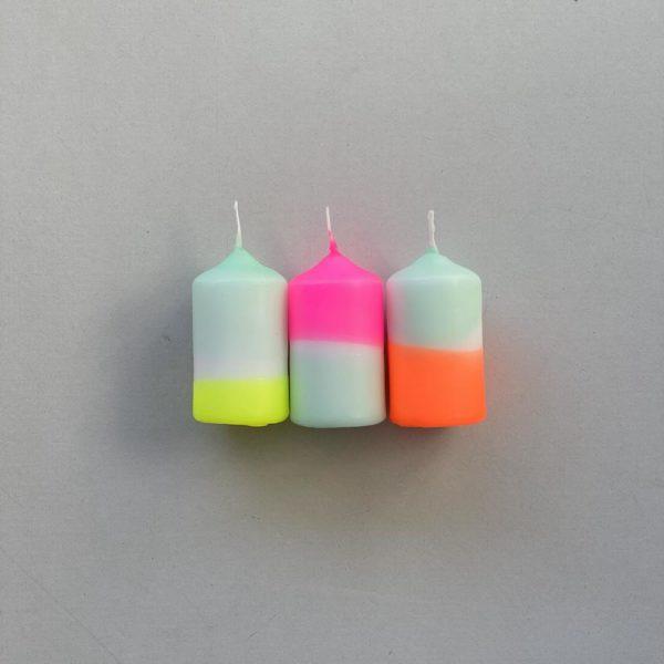 Stumpenkerzen Dip Dye 3er Set Rainbow Drops von Pink Stories