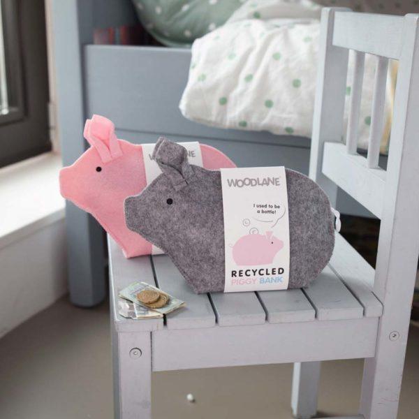 Sparschwein Piggy Bank grau und rosa von Woodlane