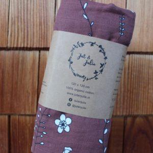 Mulltuch Blumen dunkelbraun von Jut & Julie