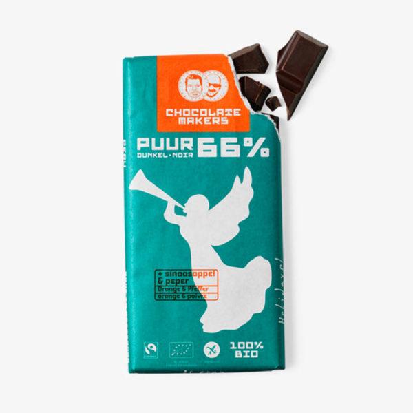 Bio-Schokolade Feiertagstafel 66% mit Orange und Pfeffer von Chocolatemakers