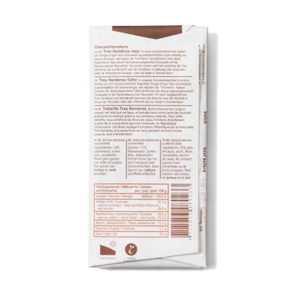 Bio-Schokolade Schokofahrt Tres Hombres 75 % mit Kakaonibs von Chokolatemakers